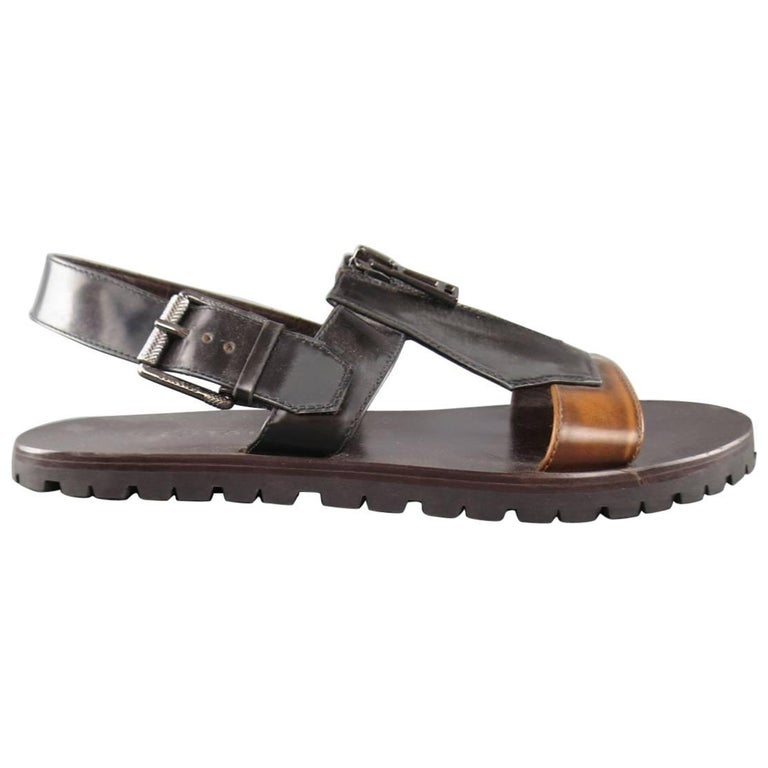 Men's BELSTAFF Size 9.5 Black & Brown Two Toned Patent Leather Zip Sandals For Sale
