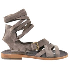 Men's JOHN GALLIANO Size 9 Grey Suede Gladiator Wrapped Ankle Strap Sandals