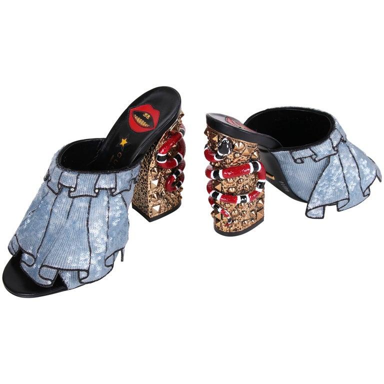 2016 Gucci Owen Ruffle Trompe L'Oeil Sequin Block-Heel Mules w/Snakes Sz 37