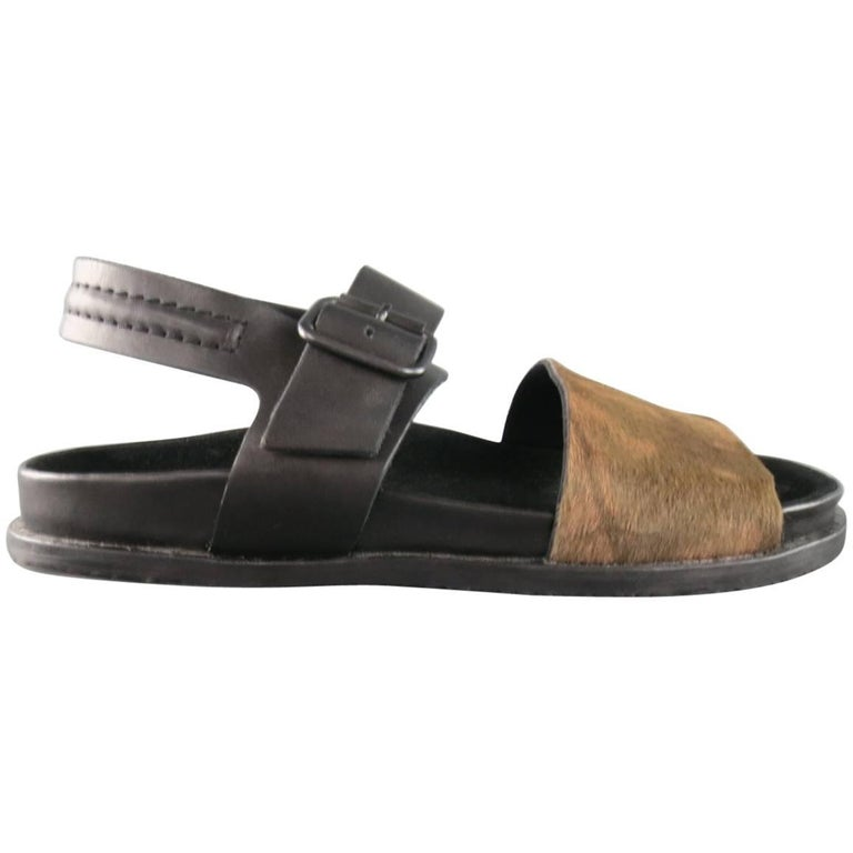 Men's ALLSAINTS SPITALFIELDS Size 11 Black & Brown Two Toned Leather Sandals For Sale