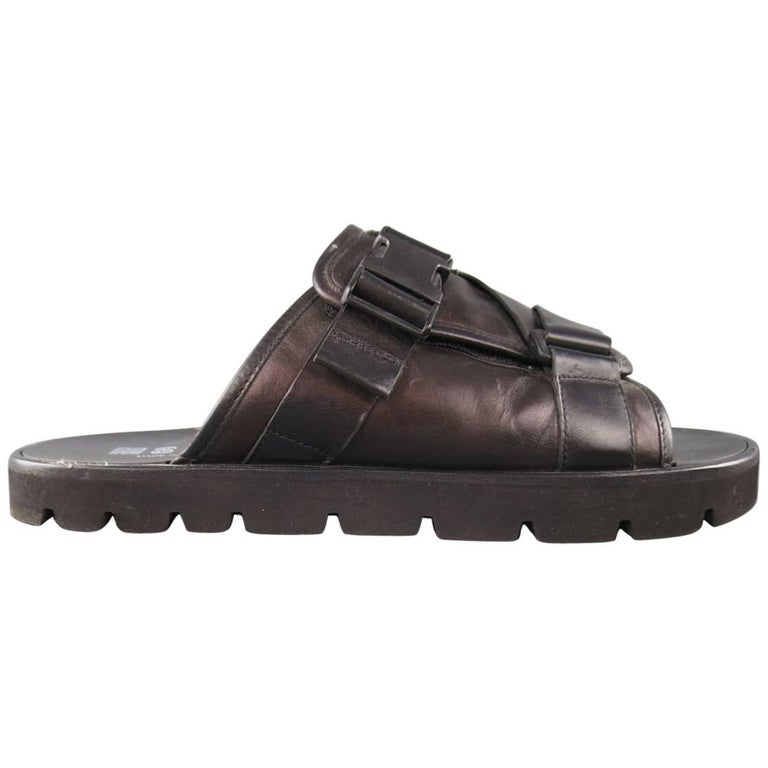Men's MSGM Size 10 Black Leather Thick Buckle Strap Sandals
