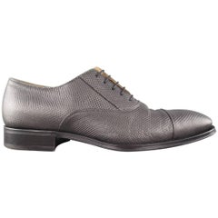 GIORGIO ARMANI Size 9.5 Grey Lizard Karung Textured Lace Up