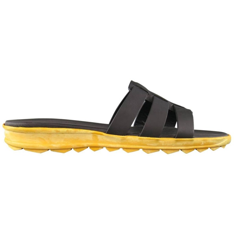 Men's CHRISTOPHER KANE Size 11 Black Leather Yellow Rubber Sole Sandals For Sale