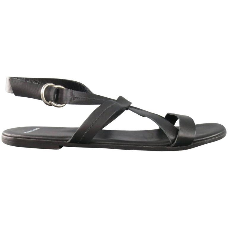 Men's PIERRE HARDY Size 11 Black Leather Cross Strap Sandals
