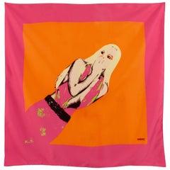 Versace Silk Scarf Large Wrap Pop Art Donatella Print Spring 2004 Runway 35in
