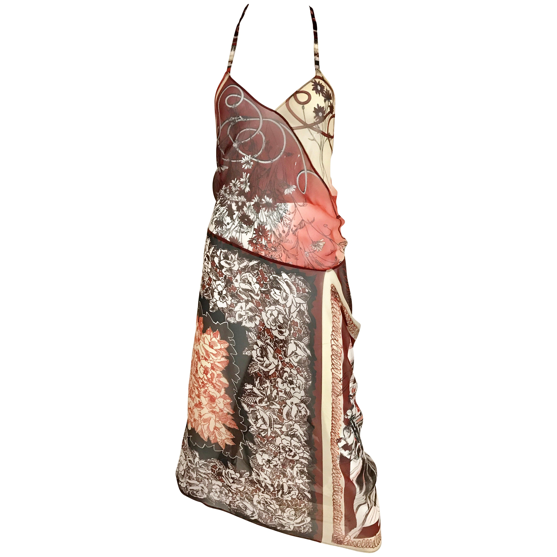 Jean Paul Gaultier Vintage Halter Silk V neck Dress with bra and jacket set