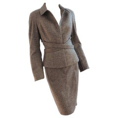 Thierry Mugler Cross Belted Jacket & Skirt Suit Wool Tweed Size 38