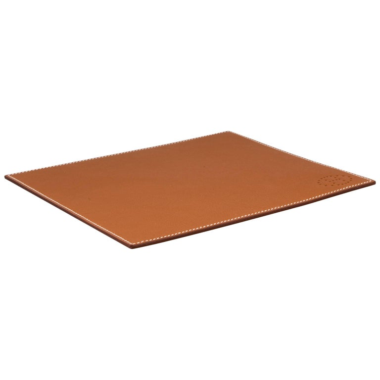 Hermes Cognac Brown Leather Men's Miscellaneous GiftDesk Table Pad in Box
