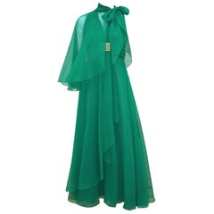 Glam 1970's Lillie Rubin Emerald Green Chiffon Goddess Dress With Wrap