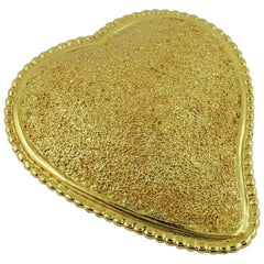 Yves Saint Laurent YSL Vintage Textured Heart Brooch Pendant