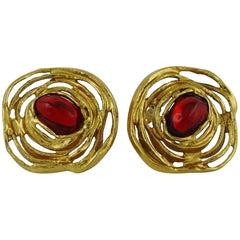 """Yves Saint Laurent YSL Vintage """"Nest"""" Clip-On Earrings"""