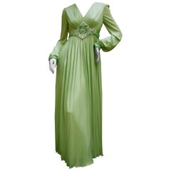 1970s Mint Green Matte Jersey Pleated Gown by Malcom Starr for Saks Fifth Avenue