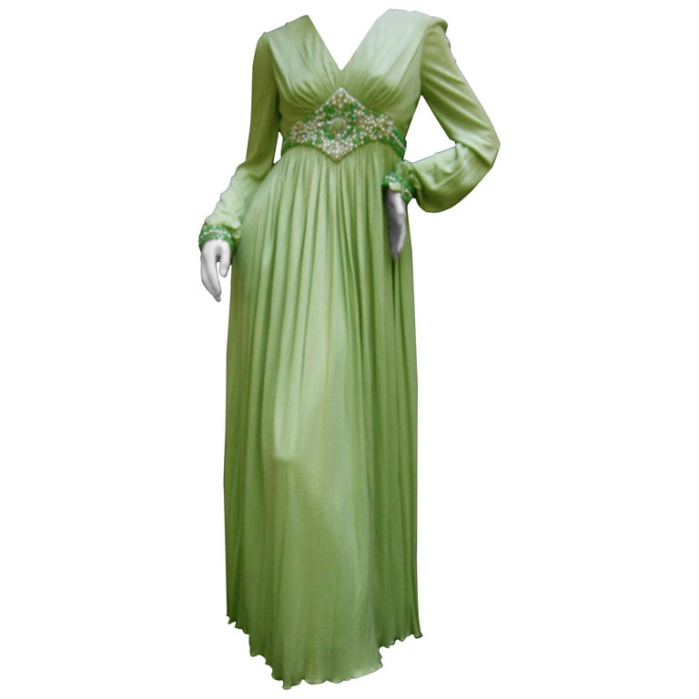 1970s Mint Green Matte Jersey Pleated Gown By Malcom Starr For Saks