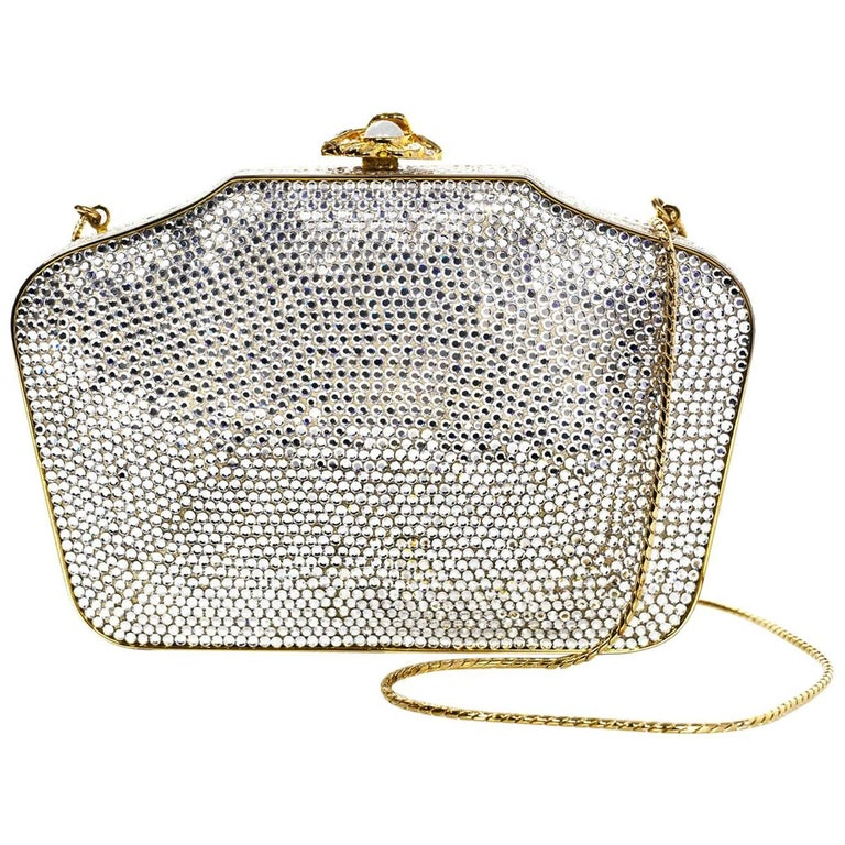 Judith Leiber Crystal Minaudiere Evening Clutch Bag For Sale