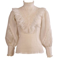 High Collar Victorian Style Cotton and Lace Blouse, 1970s
