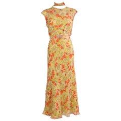 Maggie Norris Couture 1930's Inspired Silk Chiffon Dress, Jacket & Slip
