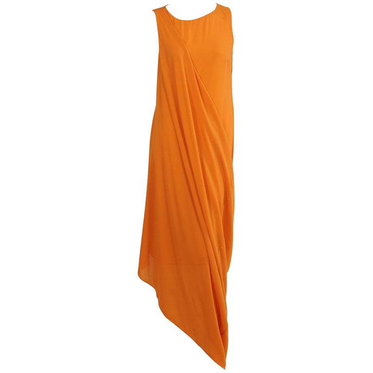 Jil Sander Melon Colored Wool Crepe Dress with Attached Side Drape Never Worn For Sale