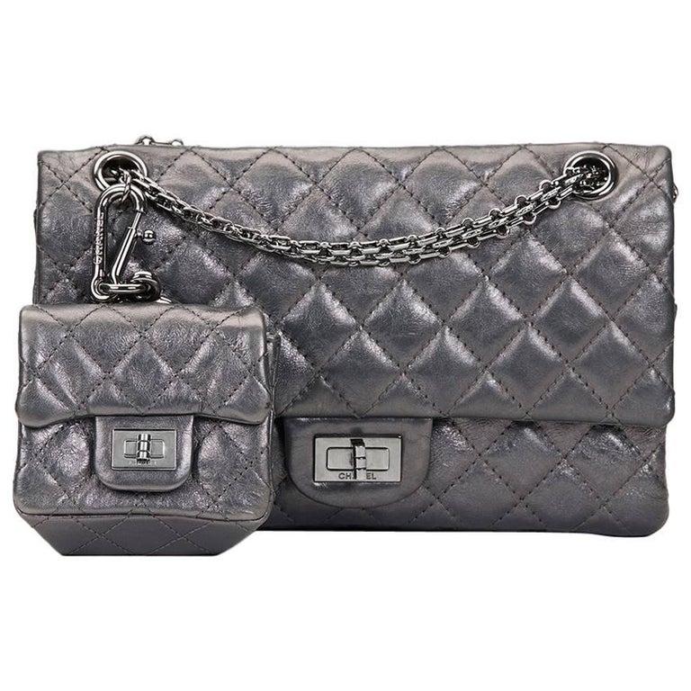 59c6a2b92b46 2010 Chanel Dark Silver Aged Calfskin 2.55 Reissue 225 Double Flap Bag For  Sale