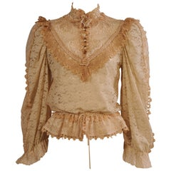 Victorian Inspired Mixed Lace Blouse circa 1975