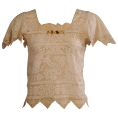 1920's Inspired Filet Lace Blouse, circa 1975