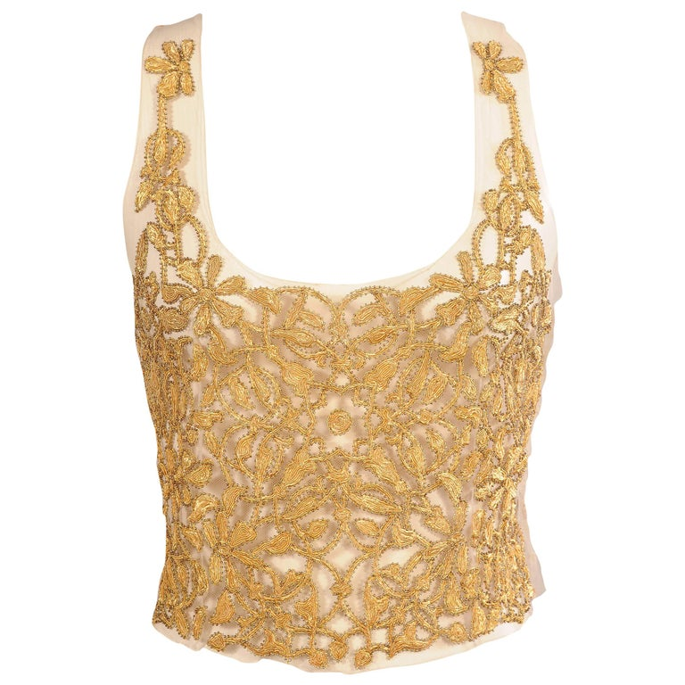 Maggie Norris Haute Couture Tulle Bodice Hand Sewn Gold Beads and Soutache 1
