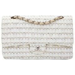 2005 Chanel Beige, White, Blue Tweed Medium Classic Double Flap Bag