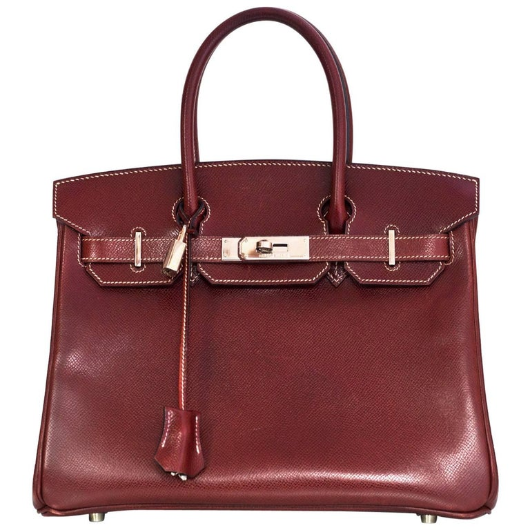 Hermes Brick Red Epsom Leather 30cm Birkin Bag PHW with Box & DB