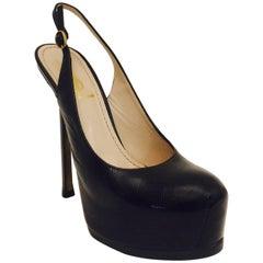 Yves St. Laurent Black Smooth Leather High Heel Covered Platform Sling Backs