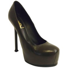 Yves Saint Laurent Olive Leather High Heel Pumps With Covered Platforms