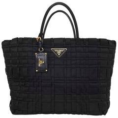 Prada Black Tessuto Nylon Woven Tote Bag