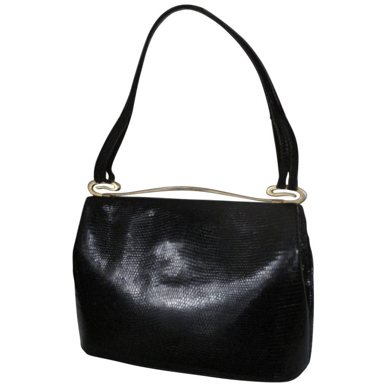 delvaux rare vintage black lizard bag