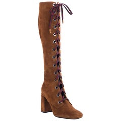 Prada Women's Brown Suede Lace Up Knee Boots