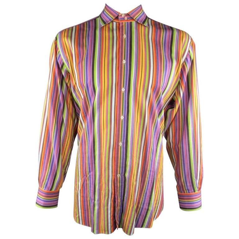 Etro Size Xxl Multi Color Rainbow Stripe Spread Collar