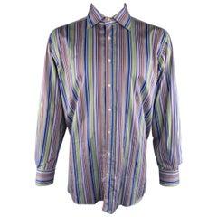 ETRO XXL Multi-Color Blue & Purple Stripe Spread Collar Cotton Long Sleeve Shirt