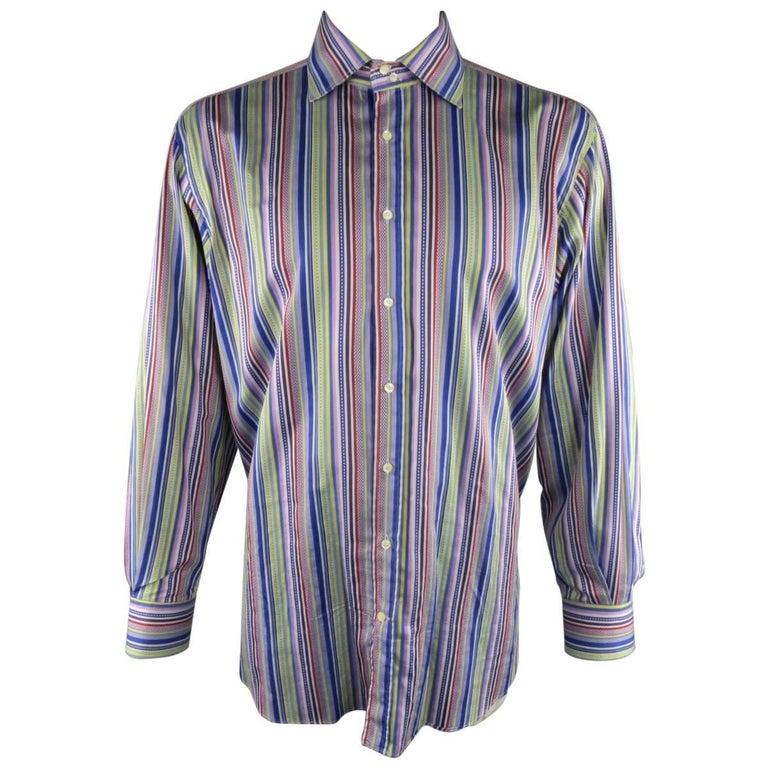 Etro Xxl Multi Color Blue And Purple Stripe Spread Collar