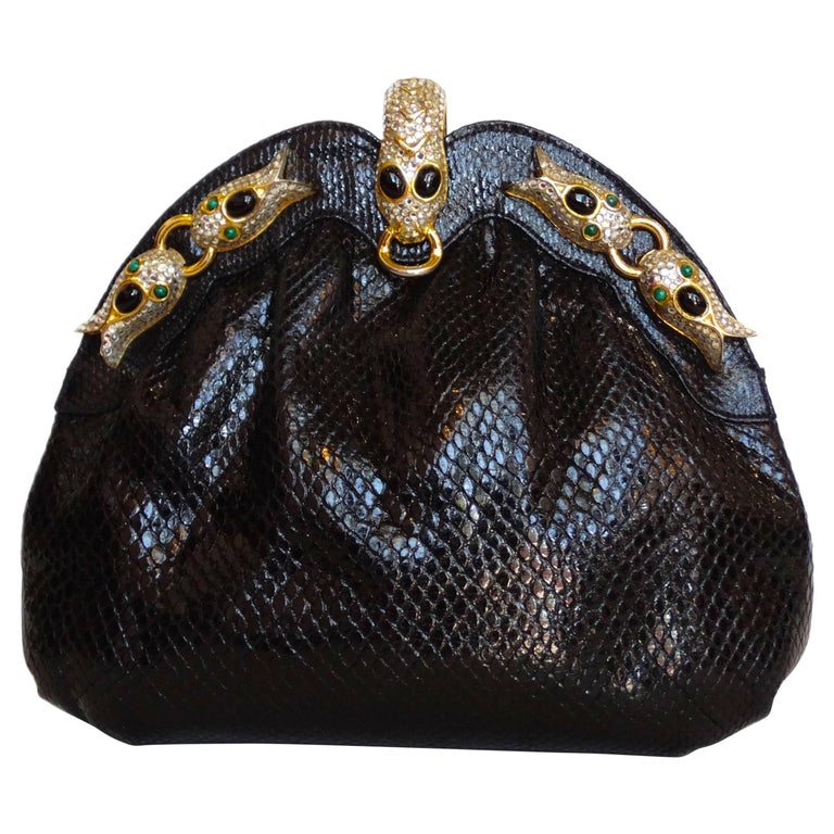 1980s Finesse La Model Snakeskin Convertible Clutch