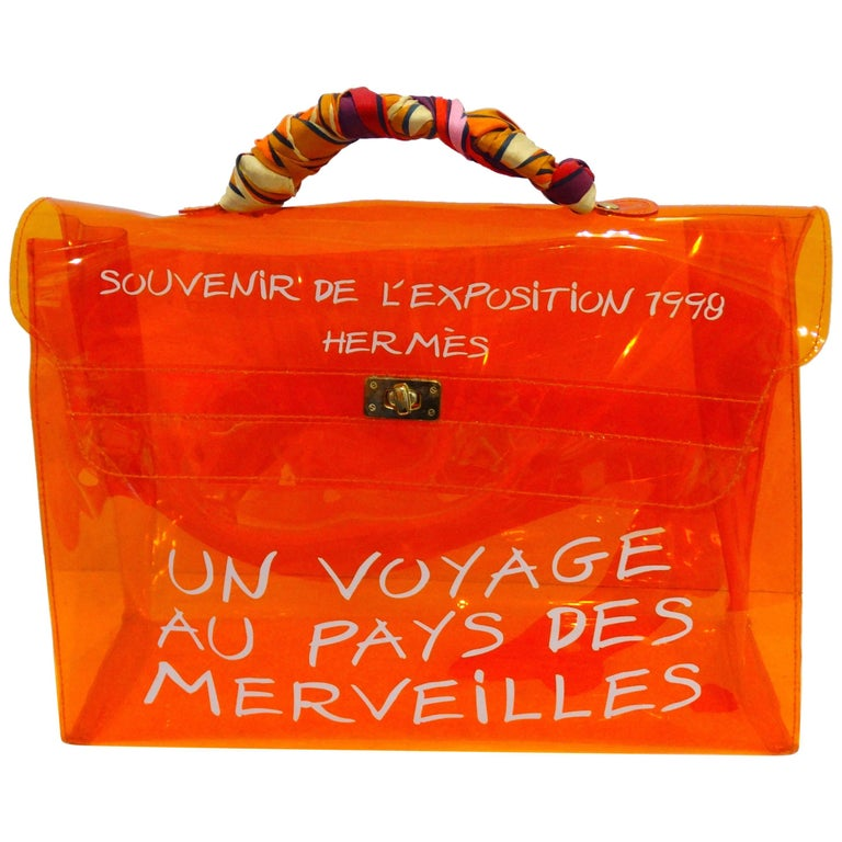 21211f337d03 1998 Hermes Souvenir D exposition Clear Orange Vinyl Kelly Bag For Sale