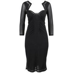 GUCCI S/S 2005 Black Knit 3/4 Sleeve Bustier Shift Cocktail Dress