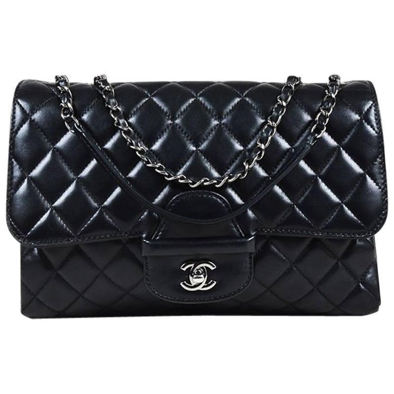 2acbafa6efa7 Chanel Black Lambskin Quilted Chain Strap  CC  Flap Bag For Sale at 1stdibs