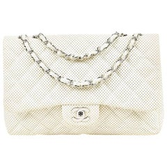 "Chanel White Perforated Leather ""Jumbo Classic Single Flap"" Shoulder Bag"