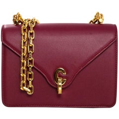Christian Dior 2017 Burgundy Leather C'est Dior Mini Flap Bag with DB