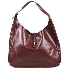 "Vintage Hermes ""Rouge H"" Red Box Calf Leather ""Trim"" Hobo Bag"