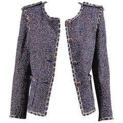Chanel Spring 2016 Blue Red & White Cotton Tweed 'CC' Button Jacket SZ 36