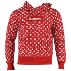 """Men's Louis Vuitton x Supreme NWT Red White """"Supreme Box Logo"""" Hoodie SZ XS"""