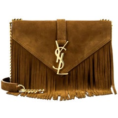 Saint Laurent Camel Suede Monogram Small Fringe Crossbody Bag w/ Box & DB