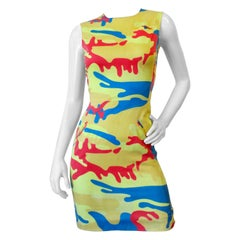 1987 Stephen Sprouse x Andy Warhol Technicolor Camo Dress