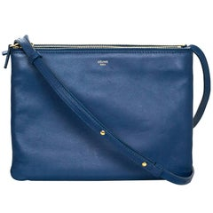 Celine Blue Lambskin Leather Large Trio Crossbody/Clutch Bag