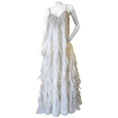 1980s Rubin Panis Ostriched Feathered Gown
