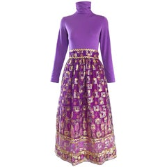 Beautiful 1970s Purple Lavender Ethnic Batik Print High Neck Vintage Midi Dress