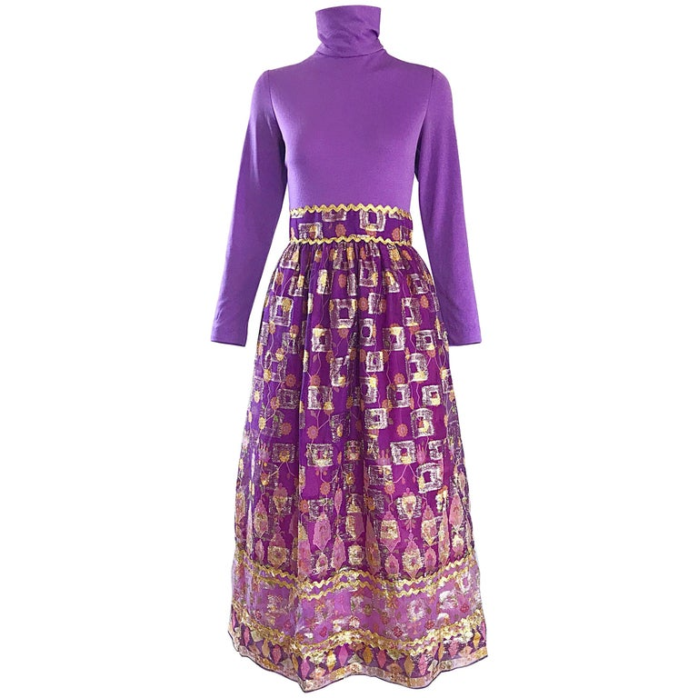 Beautiful 1970s Purple Lavender Ethnic Batik Print High Neck Vintage Midi Dress For Sale